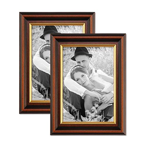 PHOTOLINI 2er Set Bilderrahmen 15x20 cm Antik Dunkelbraun mit Goldkante Massivholz mit Glasscheibe...