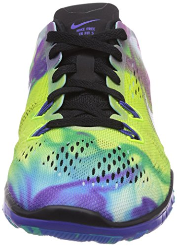 Nike Free 5.0 Tr Fit 5 Print, Running Entrainement Adulte Mixte Multicolore (Black/Black-Prsn Violet-Pht Bl)