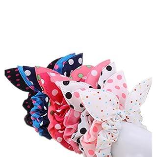ANKKO 10pcs Lovely Dot Rabbit Ear Hair Bands Chiffon Ponytail Hair Holder headband