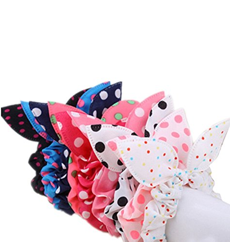 Price comparison product image ANKKO 10pcs Lovely Dot Rabbit Ear Hair Bands Chiffon Ponytail Hair Holder headband