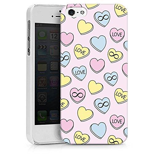 Apple iPhone X Silikon Hülle Case Schutzhülle Love Herzen Bunt Hard Case weiß