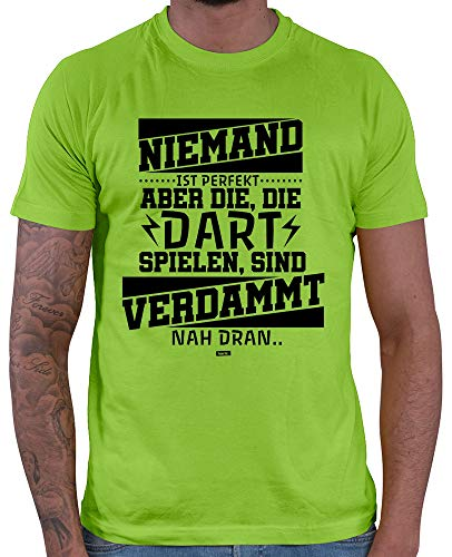 HARIZ  Herren T-Shirt Niemand Ist Perfekt Dartspieler 2 Dart Darten Dartscheibe Sport Fun Trikot Inkl. Geschenk Karte Hell Grün XL