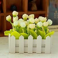 clg-fly 16cm simulazione di recinzione in legno con vaso da fiori rose artificiali fiori in vaso, creatività Set di fiori decorazione tavolo cestini 16cm stars bud-yellow