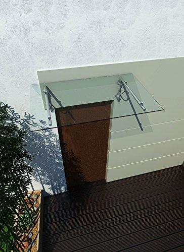 200 x 90 cm (2 Haltestangen) Glasvordach Vordach Türvordach Türdach Haustür Klarglas Glas...