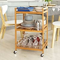 SoBuy FKW11-N Table roulante Meuble de rangement à roulettes, Desserte de cuisine de service massif en bambou, Chariot de cuisine, salle de bains L46xP38cmxH76cm