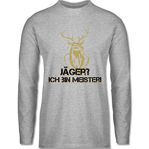 Shirtracer Après Ski - Jäger? Ich Bin Meister! - Herren Langarmshirt Grau  Meliert