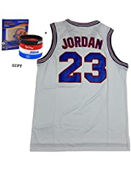 Jordan 23Squad Space Jam Maillot de basketball Jersey Incluent gratuit sur le thème des bracelets (Blanc, XL)