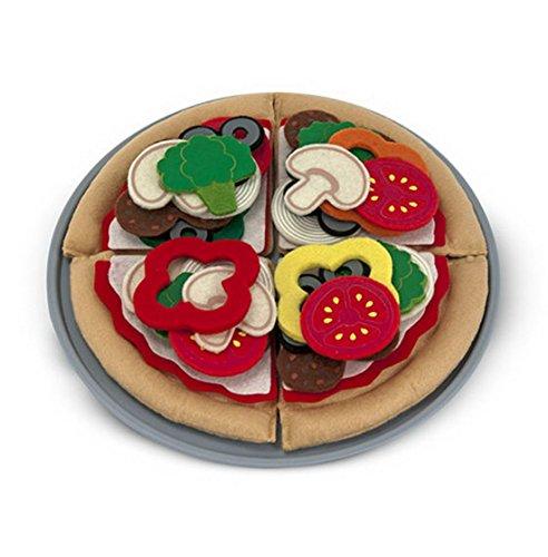 Melissa & Doug- Spielküchenzubehör Filzzutaten Mach Deine Eigene Pizza, 42 Teile, Mehrfarbig