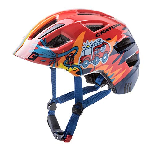 Cratoni Fahrradhelm Kinder Maxster, Red Fireman Glossy, Gr. XS-S (46-51 cm)