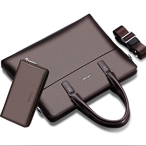 BULAGE Tasche Laptop Leder Schulter. Messenger Die Erste Schicht Leder Freizeit Männer Business Dokument Brown