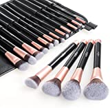 Makeup Brush Set Anjou 16 Piece Professional Cosmetic Brushes with Soft & Cruelty-Free Synthetic Fiber Bristles and Rose Gold Detailing - Elegant PU Leather Pouch Included