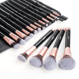 Anjou Make Up Pinsel Set 16pcs Professionelles Mattrosegoldenes Schminkpinsel...