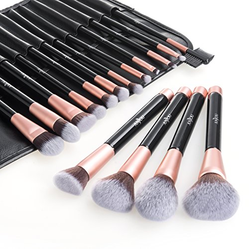 Anjou Make Up Pinsel Set 16pcs Professionelles Mattrosegoldenes Schminkpinsel Kosmetikpinsel Lidschatten Gesichtspinsel Eyeliner mit elegantem Reiseetui aus PU-Leder - 7 Natürliche Blush