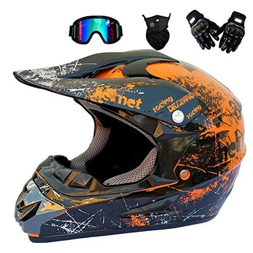BMAQ AC-017 Casco da Motocross per Fuori Nero e Verde Arancione Set di caschi da Corsa da Strada per Casco Integrale da Corsa Four Seasons Cross-Country con Occhiali Maschera e Guanti,L