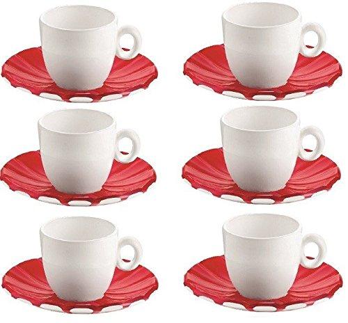 Guzzini Set 6 Tazzine Caffe Grace Colore Rosso Made in Italy