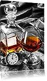 Man Things mit Whiskey und Uhr schwarz/weiß Format: 60x40 auf Leinwand, XXL riesige Bilder fertig...