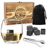 FYLINA Whisky Steine Set 12 Wiederverwendbare Eiswürfel Kühlwürfel mit Holzbox,Edelstahlzange und Aufbewahrungsbeutel für Whiskey, Wodka, Gin -
