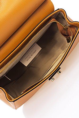 Laura Moretti - Borsa Dollaro con lembo di chiusura (stile FLAP) Cognac