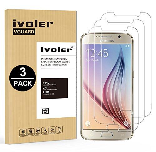 [3 Unidades] Samsung Galaxy S6 Protector de Pantalla, iVoler Protector de Pantalla de Vidrio Templado Cristal Protector para Samsung Galaxy S6 -Dureza de Grado 9H, Espesor 0,30 mm, 2.5D Round Edge-[Ultra-trasparente] [Anti-golpe] [Ajuste Perfecto] [No hay Burbujas]- Garantía Incondicional de 18 Meses