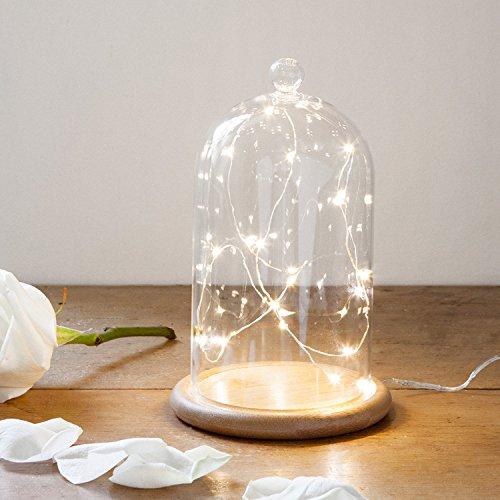 Lights4fun Deko Glasglocke mit 20er Micro Draht Lichterkette perlweiß 19cm