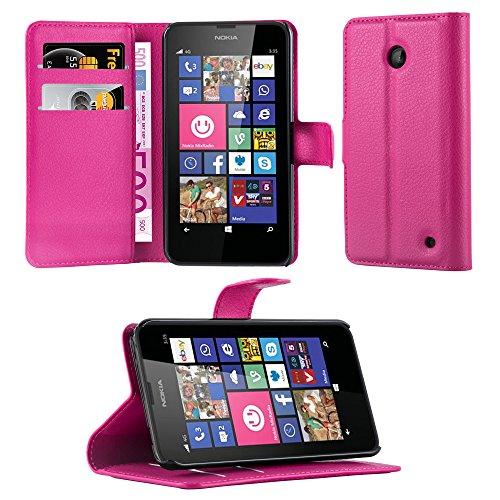 Cadorabo Coque pour Nokia Lumia 630/635 en Rose Bonbon - Housse Protection avec Fermoire Magnétique, Stand Horizontal et Fente Carte - Portefeuille Etui Poche Folio Case Cover