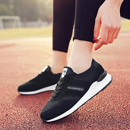 HWF Scarpe donna Scarpe sportive Scarpe da corsa primaverili femminili Scarpe da ginnastica traspiranti Scarpe casual da studente per donna ( Colore : Grigio , dimensioni : 40 ) Nero