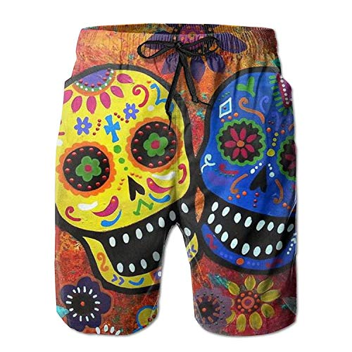 KAKALINQ New Dead Sugar Skull Men's Beach Pants,Shorts Beach Shorts Swim Trunks Large M -