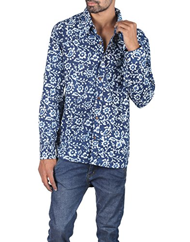 Rajrang Mens Clothings Hand Block Printed Men's Shirt Size XXL