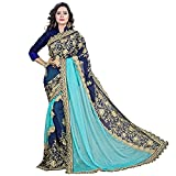 Bollywood Dress Sari ARY Fab Women Lycra y Georgette Bordado Saree con Pieza de Blusa (Pink Sky Blue)
