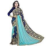 Bollywood Dress Sari ARY Fab Women Lycra y Georgette Bordado Saree con Pieza de Blusa (Pink Sky Blue)