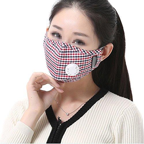 TININNA Unisex PM 2.5 Anti-Staub-Maske Klassische Plaid Muster Baumwolle Mundschutz Maske Mundschutzmasken Kälteschutz Gesichtsmaske Anti-Beschlag Anti-Fog Winddichte Maske (Rosa) (Plaid Ski-handschuhe)