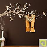 DESIGNSCAPE® Garderobe Ast mit Vögel und Blätter 160 x 70 cm (Breite x Höhe) Farbe 1: hellgrün inkl. 6 Edelstahl Wandhaken DW811004-L-F87