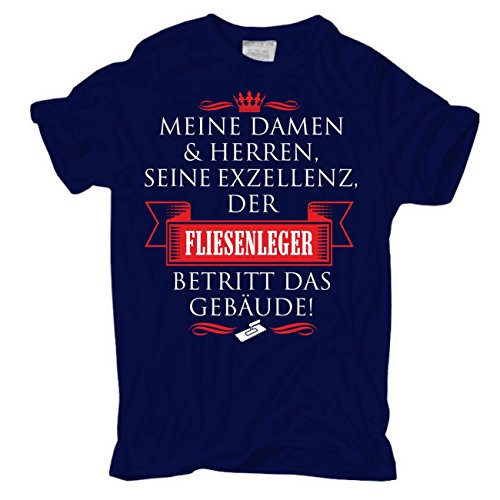 Männer und Herren T-Shirt Seine Exzellenz DER FLIESENLEGER körperbetont dunkelblau