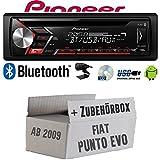 FIAT Punto Evo / 199 - Autoradio Radio Pioneer DEH-S3000BT - Bluetooth   CD   MP3   USB   Android Einbauzubehör - Einbauset