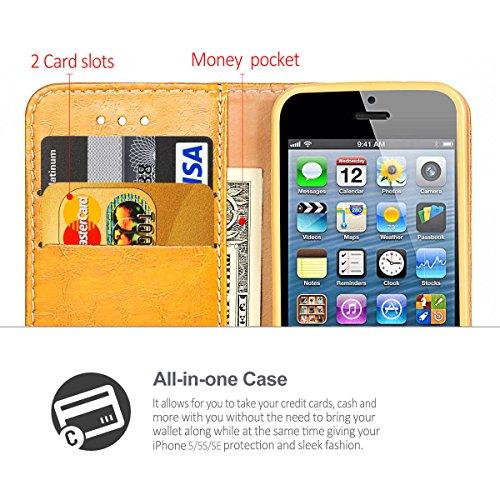 Coque Etui iPhone 5S Silicone Housse étui Portefeuille à rabat Cuir Fermeture Magnétique Protection iPhone 5 Case ecriture Béquille Coque SE en ultra slim anti choc pour Apple iPhone 5 5S SE bleu jaune