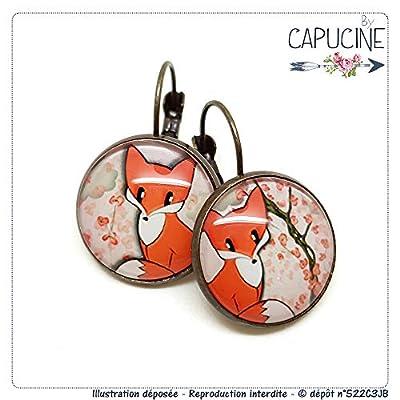 Boucles d'Oreilles Dormeuses cabochon verre Renard et Arbre en Fleurs Orange et Kaki