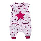 GWELL Kinder Neuartig Sterne Schlummersack Kinderschlafsack mit Beinen Füßen aus Baumwolle Schlafstrampler für Baby Jungen Mädchen Pink Sterne 120 XL