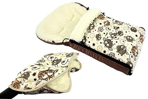 Babys-Dreams *KOMBIPAKET* MUFF + WINTERFUSSSACK 90cm - EULEN $5 - aus Lammwolle für Kinderwagen, Buggy, Radanhänger - WOLLE - Handwärmer