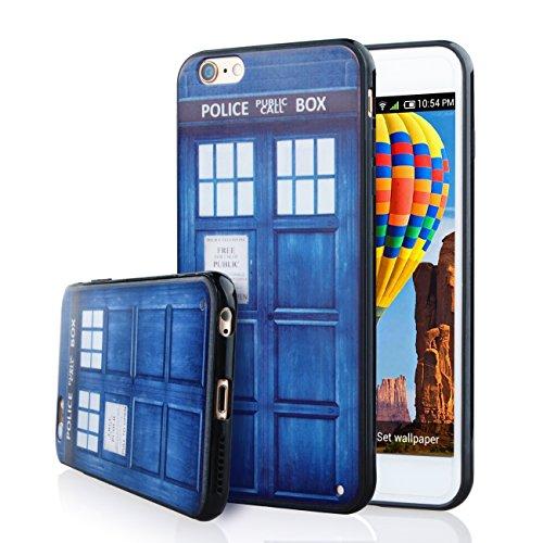 aigoo bunt Doctor Who Police Call Box Pattern Slim Hard PC Rückseite Schutz Skin Shell Cover Bumper Schutzhülle aus weichem Gummi für iPhone 6Plus, 6S Plus (14cm) ()