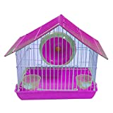 #7: Jainsons Pet Products Playhouse/Cage for Dwarf Hamster/Gerbil/Mice with Exercise Wheel & Bowls for Water & Food (Pink)