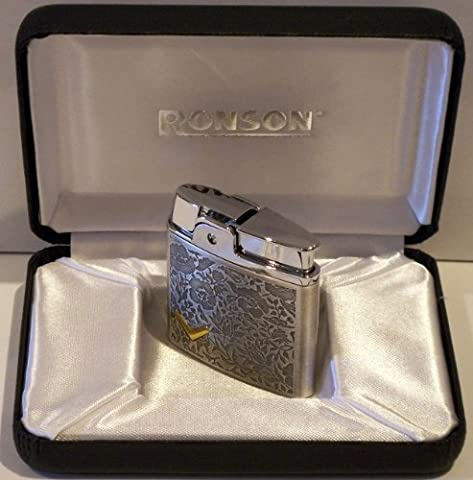 Ronson plume arabesque silver soft flame flint lighter gift boxed by RONSON