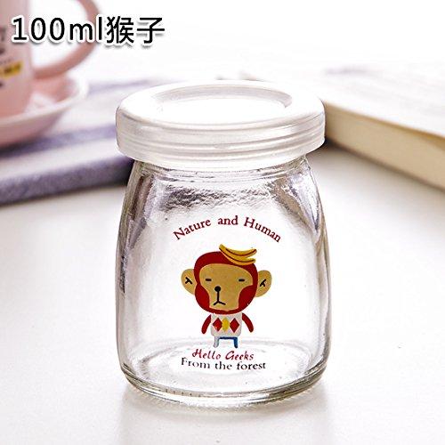 KXZDAS Kreativen DIY pudding Flasche wärmebeständiges Glas Flaschen mit Deckel der Milch Joghurt Flasche Kinder Milch Flaschen Milch Flasche Affe 100 ml (Milch Affe)