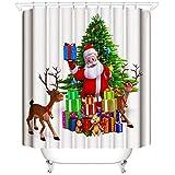 laamei Cortina de Ducha Impermeable de Baño, 3D Digital Impresión Feliz Navidad Papá Noel Alces