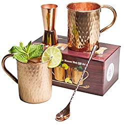 [Gift Set] Moscow Mule Copper Mugs 100% Pure Copper (No Nickel Interior) Moscow Mule Gift Set Includes Two 16 Oz. Pure Copper Hammered Mugs Double Sided Copper Peg Measure Copper Bar Spoon