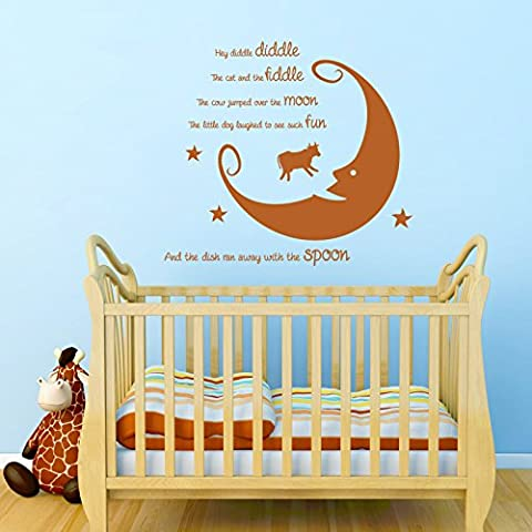 Hey Diddle Diddle Nursery Rhyme Wall Sticker. Bedroom Vinyl Decal. LARGE. 18 Colours to choose from! Fast & Free P&P! by Wall Genie