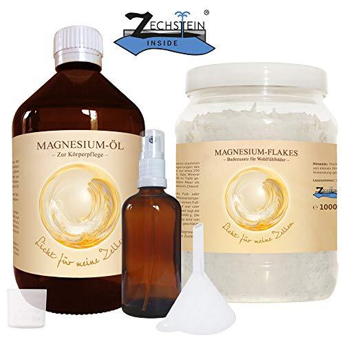 Zechstein Magnesium Öl 1000ml inkl. Sprühflasche und Magnesium Flakes 1000g
