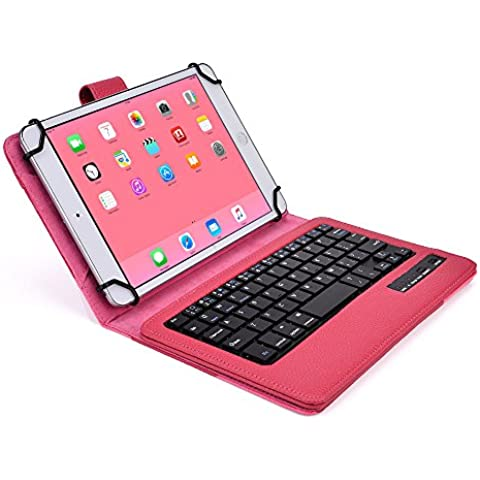 Funda tipo Folio Cooper Cases (TM) Infinite Executive para tablet de Samsung Galaxy Tab 3 Lite 7.0 (T110) / 3G (T111) con teclado Bluetooth en Rojo de rosa (soporte incorporado, teclado QWERTY extraíble, batería recargable)