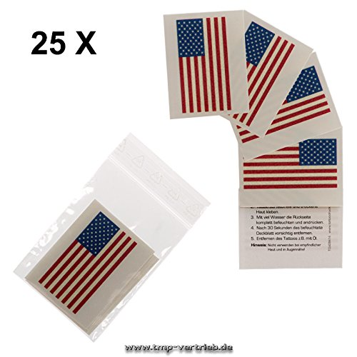 Fan Fahnen Set - America temporary tattoo Flag (25) ()