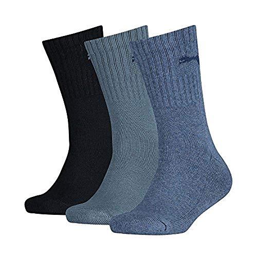 PUMA Kinder Sport JUNIOR 3P Socken, Denim Blue, 31-34 (3er Pack)