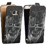 Samsung Galaxy S7 Tasche Hülle Flip Case Totenkopf Skull Carbon